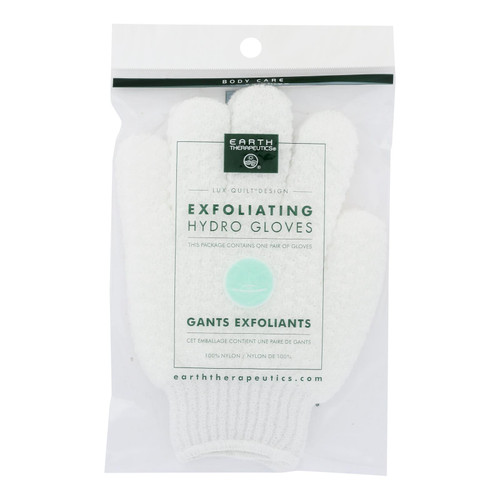 Earth Therapeutics Hydro Gloves - Exfoliating - White - 1 Pair