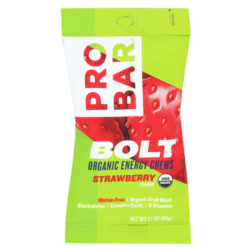 Probar Bolt Energy Chews - Organic Strawberry - 2.1 oz - Case of 12 on  Appalachian Organics
