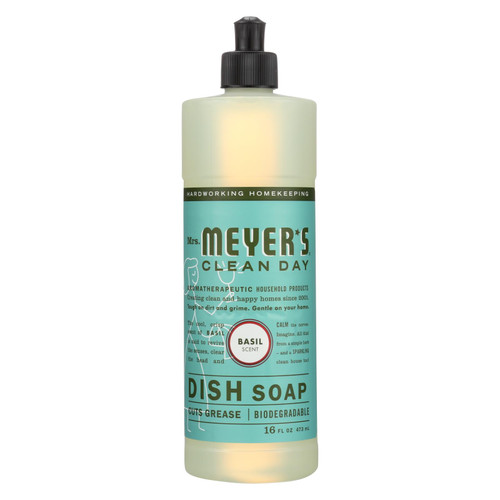 Mrs. Meyer's Liquid Dish Soap - Basil - Case of 6 - 16 oz