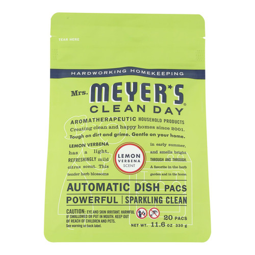 Mrs. Meyer's Automatic Dishwasher Packs - Lemon Verbena - Case of 6 - 12.7 oz