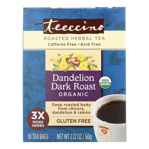Teeccino Coffee Tee Bags - Organic - Dandelion Dark Roast Herbal - 10 Bags