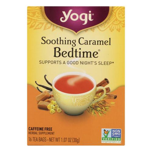 Yogi Bedtime Herbal Tea Caffeine Free Soothing Caramel - 16 Tea Bags - Case of 6