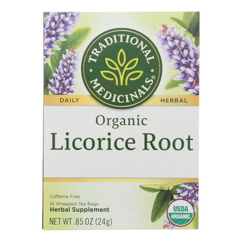 Traditional Medicinals Organic Licorice Root Herbal Tea - 16 Tea Bags - Case of 6