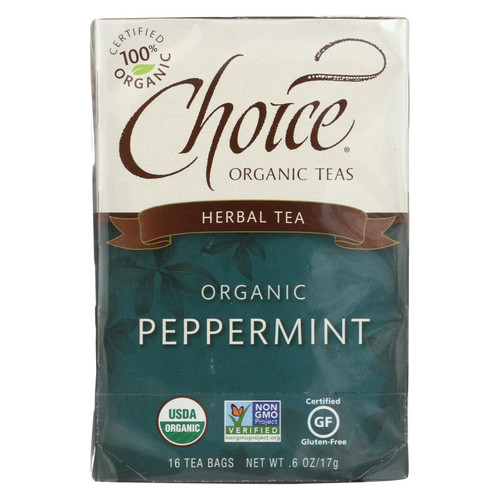 Choice Organic Teas Peppermint Herb Tea - 16 Tea Bags - Case of 6