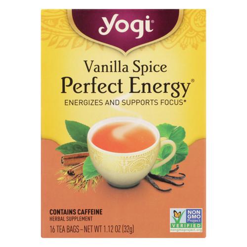 Yogi Perfect Energy Herbal Tea Vanilla Spice - 16 Tea Bags - Case of 6