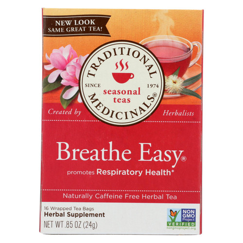 Traditional Medicinals Breathe Easy Herbal Tea - Caffeine Free - 16 Bags