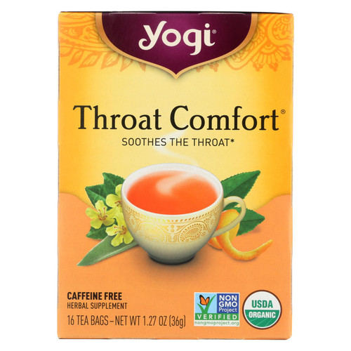 Yogi Tea Organic - Throat Comfort - Caffeine Free - 16 Tea Bags