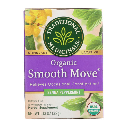 Traditional Medicinals Organic Smooth Move Peppermint Herbal Tea - 16 Tea Bags - Case of 6