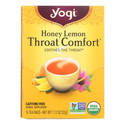 Yogi Throat Comfort Herbal Tea Caffeine Free Honey Lemon - 16 Tea Bags - Case of 6