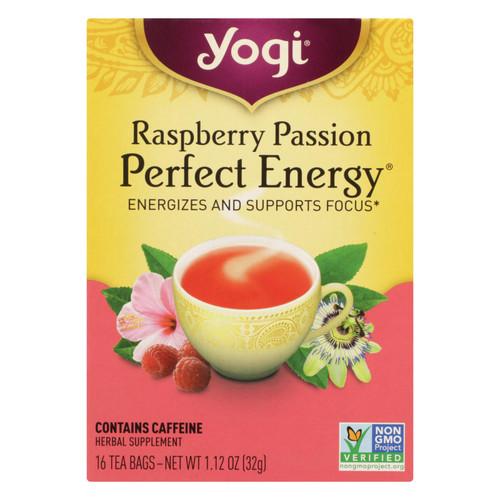 Yogi Perfect Energy Herbal Tea Raspberry Passion - 16 Tea Bags - Case of 6