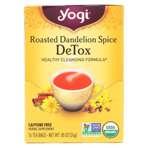 Yogi Tea - Organic - Roasted Dandelion Spice DeTox - 16 Tea Bags - 1 Case