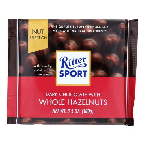 Ritter Sport Chocolate Bar - Dark Chocolate - Whole Hazelnuts - 3.5 oz Bars - Case of 10