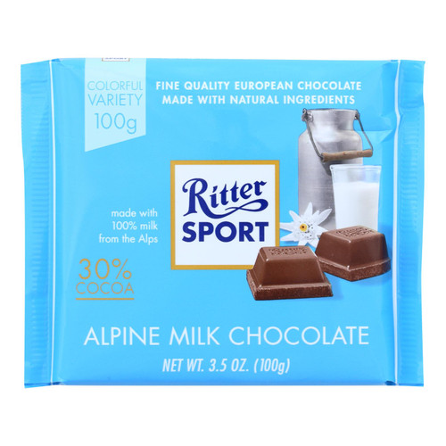 Ritter Sport Chocolate Bar - Milk Chocolate - 30 Percent Cocoa - Alpine - 3.5 oz Bars - Case of 12