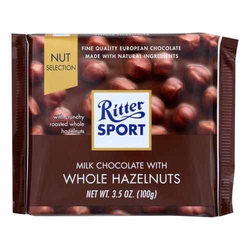 Ritter Sport Chocolate Bar - Milk Chocolate - Whole Hazelnuts - 3.5 oz Bars - Case of 10