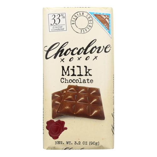 Chocolove Xoxox Premium Chocolate Bar - Milk Chocolate - Pure - 3.2 oz Bars - Case of 12