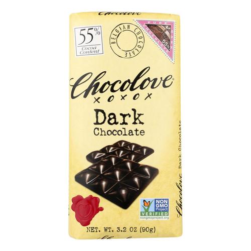Chocolove Xoxox Premium Chocolate Bar - Dark Chocolate - Pure - 3.2 oz Bars - Case of 12