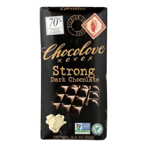 Chocolove Xoxox Premium Chocolate Bar - Dark Chocolate - Strong - 3.2 oz Bars - Case of 12