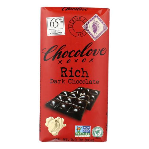 Chocolove Xoxox Premium Chocolate Bar - Dark Chocolate - Rich - 3.2 oz Bars - Case of 12