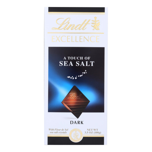 Lindt Chocolate Bar - Dark Chocolate - 47 Percent Cocoa - Excellence - Touch of Sea Salt - 3.5 oz Bars - Case of 12
