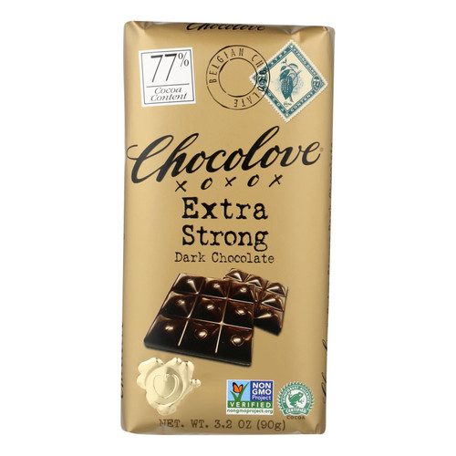 Chocolove Xoxox Premium Chocolate Bar - Dark Chocolate - Extra Strong - 3.2 oz Bars - Case of 12