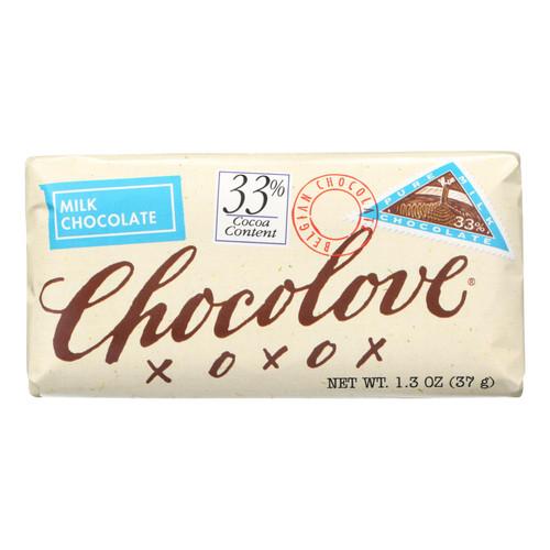 Chocolove Xoxox Premium Chocolate Bar - Milk Chocolate - Pure - Mini - 1.3 oz Bars - Case of 12
