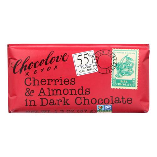 Chocolove Xoxox Premium Chocolate Bar - Dark Chocolate - Cherries and Almonds - Mini - 1.3 oz Bars - Case of 12