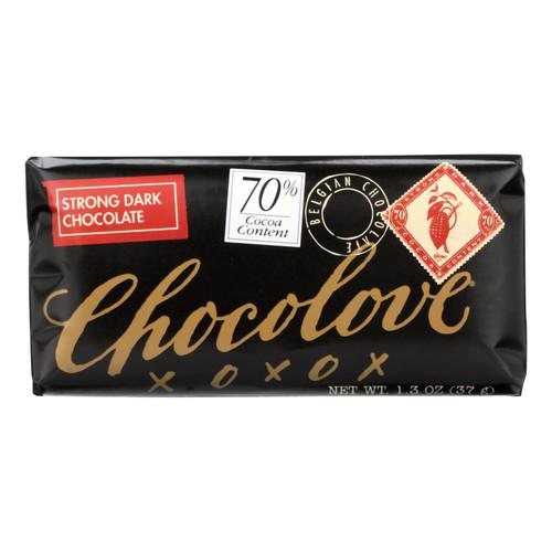 Chocolove Xoxox Premium Chocolate Bar - Dark Chocolate - Strong - Mini - 1.3 oz Bars - Case of 12