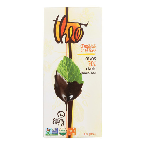 Theo Chocolate Organic Chocolate Bar - Classic - Dark Chocolate - 70 Percent Cacao - Mint - 3 oz Bars - Case of 12