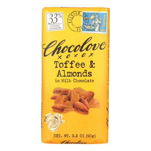 Chocolove Xoxox Premium Chocolate Bar - Milk Chocolate - Toffee & Almonds - 3.2 oz Bars - Case of 12