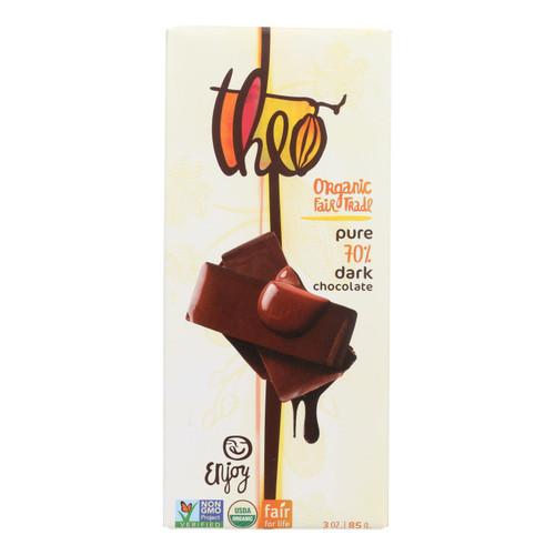 Theo Chocolate Organic Chocolate Bar - Classic - Dark Chocolate - 70 Percent Cacao - Pure - 3 oz Bars - Case of 12
