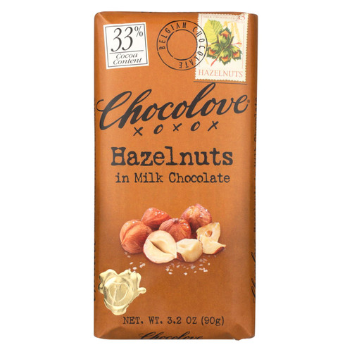 Chocolove Xoxox Premium Chocolate Bar - Milk Chocolate - Hazelnuts - 3.2 oz Bars - Case of 12
