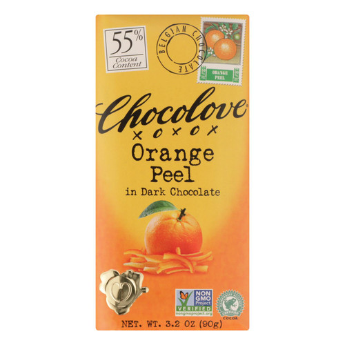 Chocolove Xoxox Premium Chocolate Bar - Dark Chocolate - Orange Peel - 3.2 oz Bars - Case of 12
