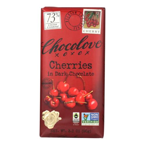 Chocolove Xoxox Premium Chocolate Bar - Organic Dark Chocolate - Fair Trade Cherries - 3.2 oz Bars - Case of 12
