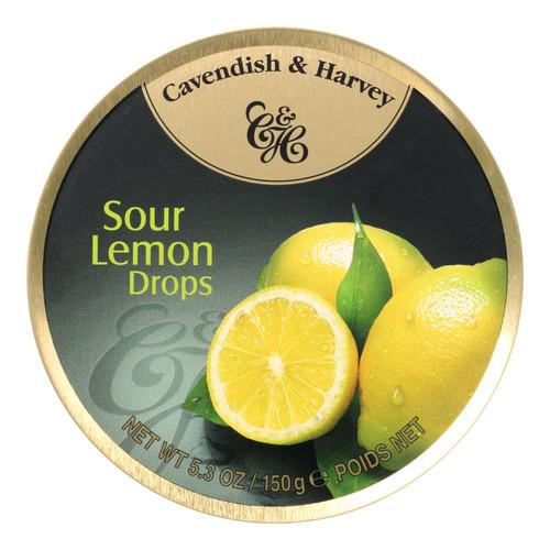 Cavendish & Harvey Fruit Drops Tin - Sour Lemon - 5.3 oz - Case of 12