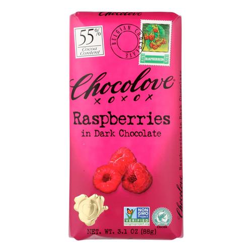 Chocolove Xoxox Premium Chocolate Bar - Dark Chocolate - Raspberries - 3.1 oz Bars - Case of 12