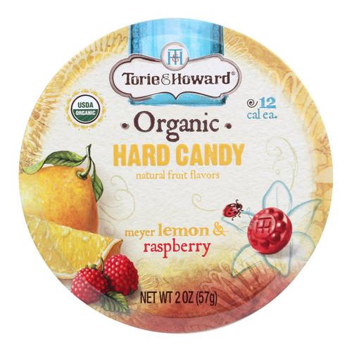 Torie & Howard Organic Hard Candy - Lemon and Raspberry - 2 oz - Case of 8