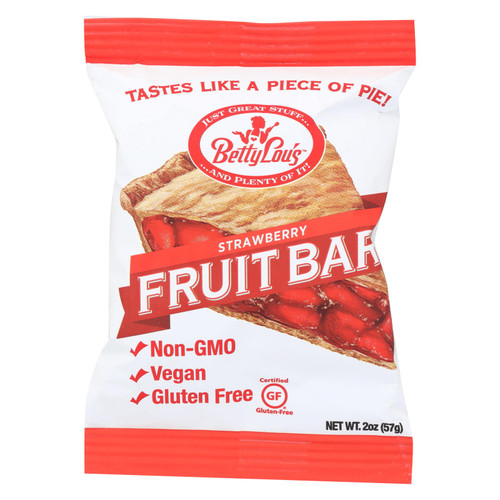 Betty Lou's Fruit Bar - Strawberry - Gluten Free - Case of 12 - 2 oz
