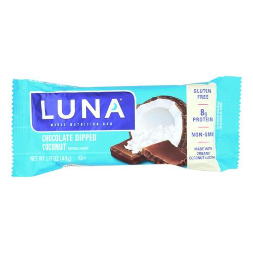 Clif Bar Luna Bar - Organic Chocolate Dipped Coconut - Case of 15 - 1.69 oz