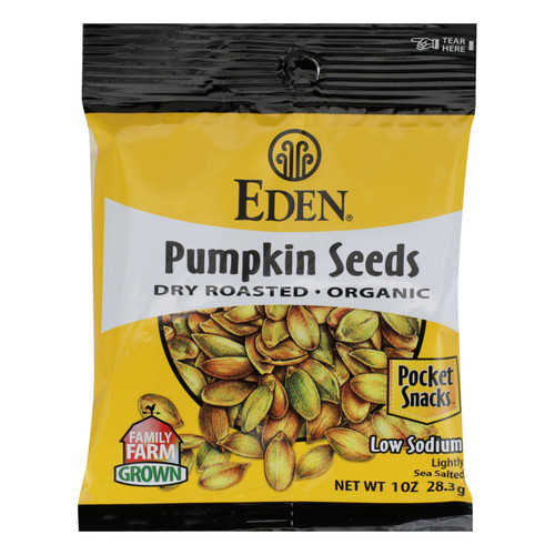 Eden Foods Organic Pocket Snacks - Pumpkin Seeds - Dry Roasted and Salted - 1 oz - Case of 12