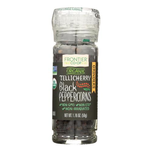 Frontier Herb Peppercorns - Organic - Whole - Black - Tellicherry Grade - Grinder Bottle - 1.76 oz - Case of 6