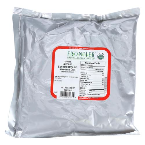 Frontier Herb Chili Pepper - Organic - Cayenne - Ground - 90000 HU - Bulk - 1 lb