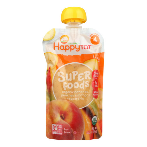 Happy Baby HappyTot Organic Superfood Banana Peach and Mango - 4.22 oz - Case of 16