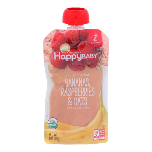 Happy Baby Happy Baby Clearly Crafted - Bananas, Raspberries and Oats - Case of 16 - 4 oz.