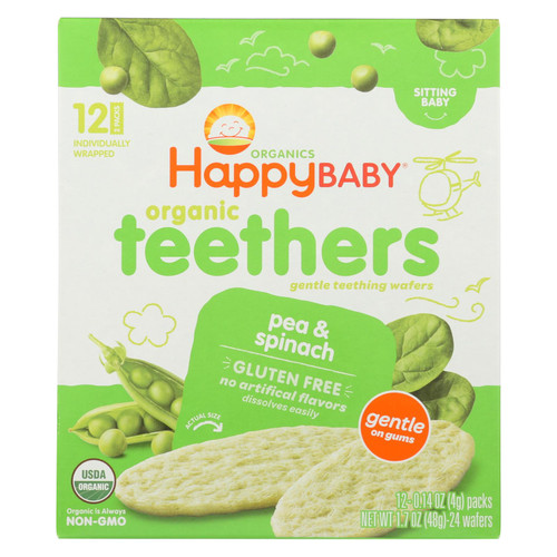 Happy Baby Gentle Tethers - Pea and Spinach - Case of 6 - 1.7 oz.
