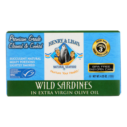 Henry and Lisa's Natural Seafood Wild Sardines In Extra Virgin Olive Oil - Case of 12 - 4.25 oz. on  Appalachian Organics