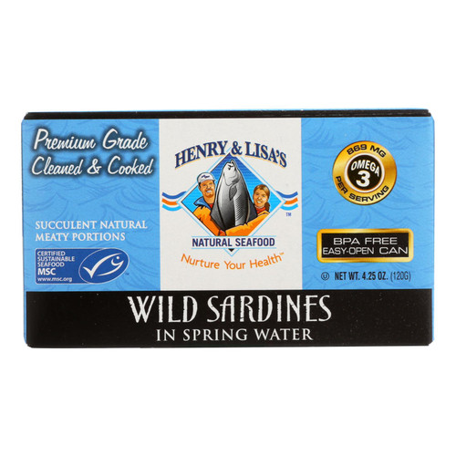 Henry and Lisa's Natural Seafood Wild Sardines in Spring Water - Case of 12 - 4.25 oz. on  Appalachian Organics