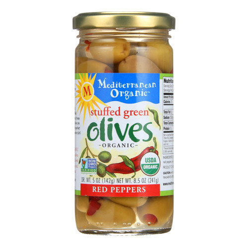 Mediterranean Organic Olives - Organic - Green - Stuffed - Red Peppers - 8.5 oz - case of 12 on  Appalachian Organics