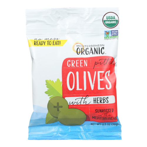Mediterranean Organic Olives - Organic - Green - Pitted - with Herbs - Snack Pack - 2.5 oz - case of 12 on  Appalachian Organics