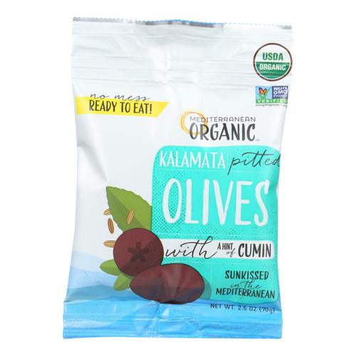Mediterranean Organic Olives - Organic - Kalamata - Pitted - with Cumin - Snack Pack - 2.5 oz - case of 12 on  Appalachian Organics