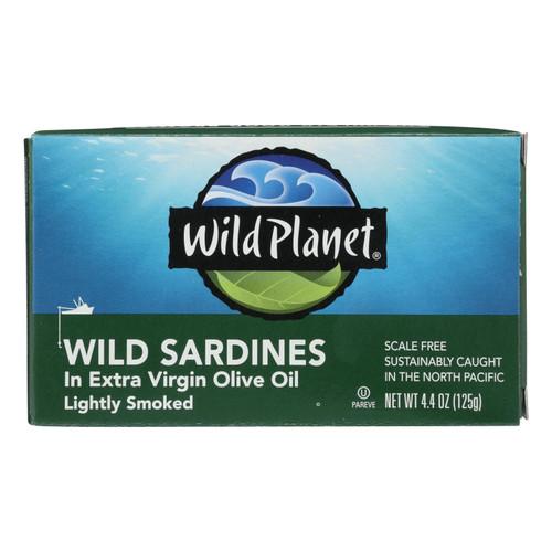 Wild Planet Wild Sardines In Extra Virgin Olive Oil - Case of 12 - 4.375 oz.